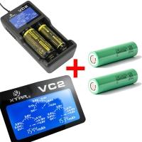 Xtar VC2 - Ladegerät für Li-Ion Akkus inkl. 2 Samsung INR18650 25R 2500mAh 3,6V - 3,7V 20A