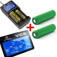 Xtar VC2 - Ladegerät für Li-Ion Akkus inkl. 2 Sony Konion VTC5A Akkus 18650 - 2600mAh 35A