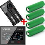 Xtar VC2-S - Akku Ladegerät + Powerbank inkl. 2/4 Sony Konion VTC5A Akkus 18650 - 2600mAh 35A