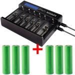 Xtar Queen Ant MC6 - Ladegerät mit 6 Schächten inkl. 2/3/4/6 Sony Konion US18650VTC6 - 3120mAh, 3,6V - 3,7V