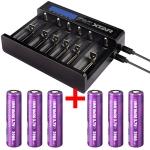 Xtar Ladegerät 18650 Queen Ant MC6 LiIon USB-Ladegerät mit 6 Schächten inkl. 2/3/4/6 Efest Akkus 18650 - 3000mAh 35A günstig kaufen